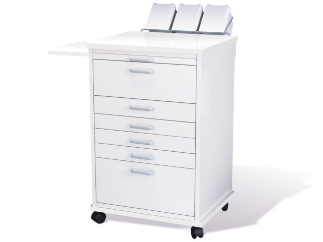 Picture of a mobile dental cabinet. Canada and United States Modular & Custom Cabinets (MCC) is devoted to building green, sustainable custom and modular cabinets for dental professionals. Providing quality and functional cabinets that fit your office and needs.