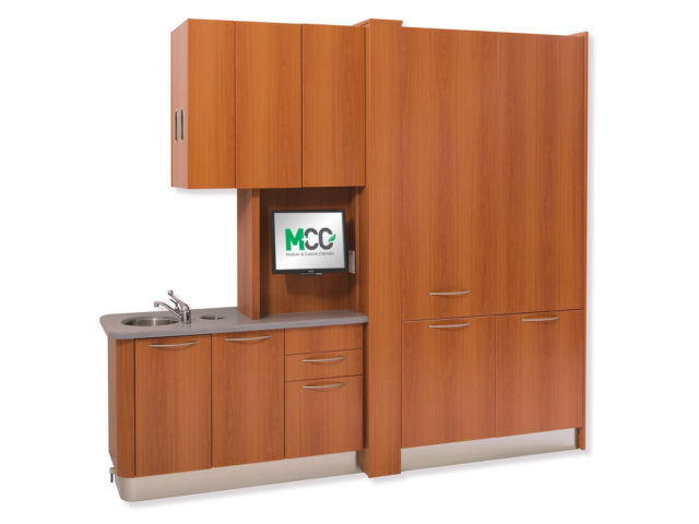 MCC's Perfect Fir Center Island dental cabinets are LEED compliant and contains no urea formaldehyde resins and is built with water-based adhesives.