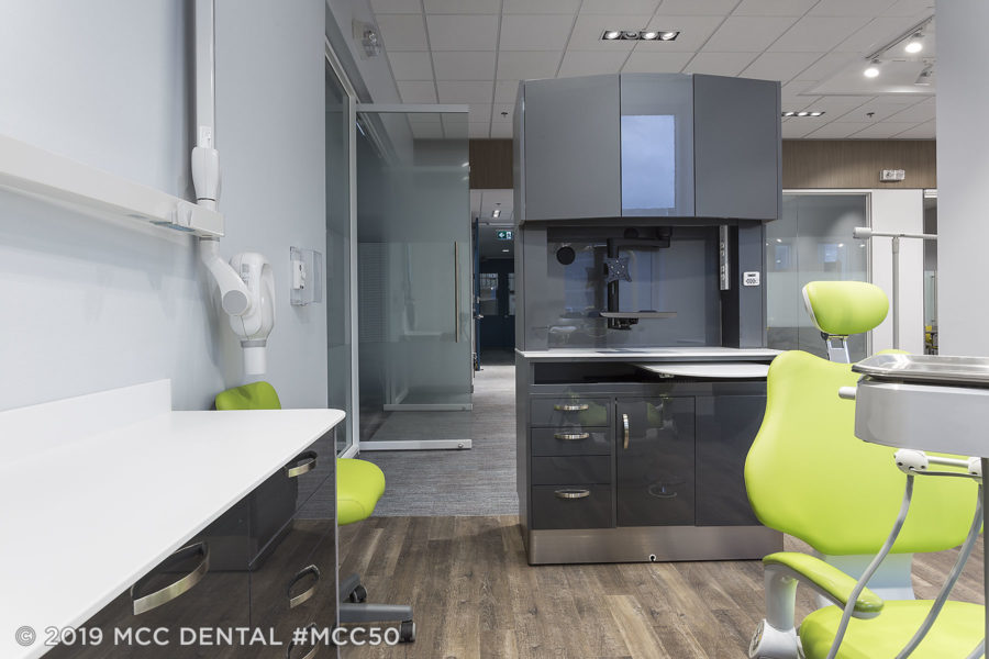 MCC Perfect Fit Rear Dental Cabinet in Brilliance Antracite and Snow White top-front view