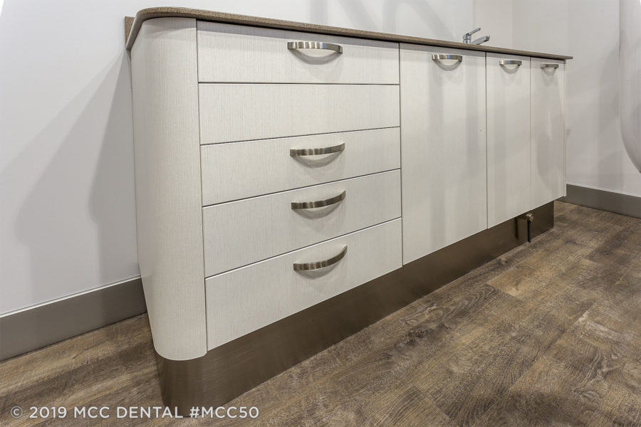 MCC Perfect Fit PFS420 Side Dental Cabinet in Latitude North and Madeira Mist top-front view